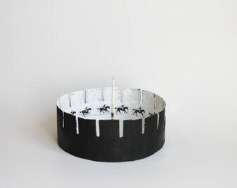zoetrope Animation Toy art papier mache optical device horse black and white bowl replica optical illusion modern home decoration  zootrope