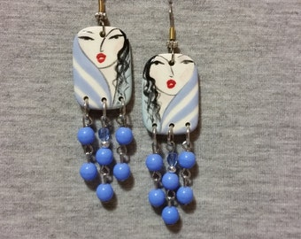 Handpainted Earrings - Ceramic Jewelry - Blue Earrings - Art Jewelry - Dangle Earrings - Unique Jewelry - Accessories - Gifts For Women