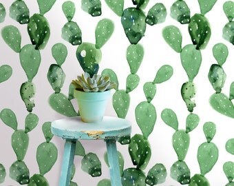 Cactus Wall Mural -  Self Adhesive Fabric Wallpaper -  Removable, Repositionable, Reusable. EASY  PEEL & STICK !! R0018
