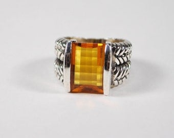 Vintage Sterling Silver and Cherboard Faceted Citrine Ring