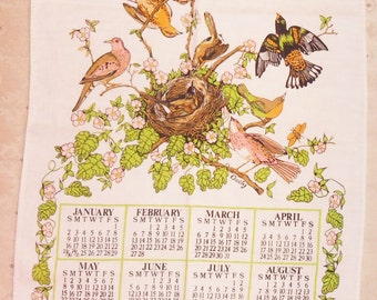 1983 Calendar Towel Birds in a Tree