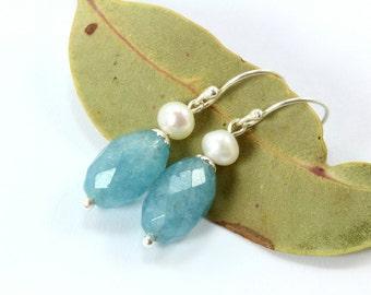 Blue Quartz Sterling Silver Earrings, Aquamarine Quartz Earrings, Silver Jewelry, Silver Earrings, Silver Dangle Earrings, Pearl Earrings