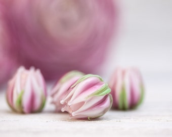 Pink Lampwork Flowers, Lampwork Flower Beads, Lampwork Rose Buds, Floral Glass Beads