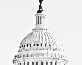 "Washington DC, Art, Black and White Photography, Fine Art Print, Wall Decor, Capitol Building, Poster, Color Option - ""Summit"""