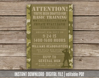 Army Camo Birthday Invitation | Military Party Boot Camp Basic Training Camouflage Invite Boys Birthday Instant Download editable PDF