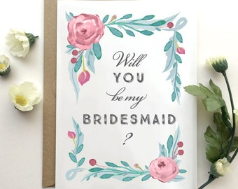 Will You Be My Bridesmaid Card - Will You Be My Bridesmaid? - Romantic Bridesmaid Invitation - Floral Bohemian Chic