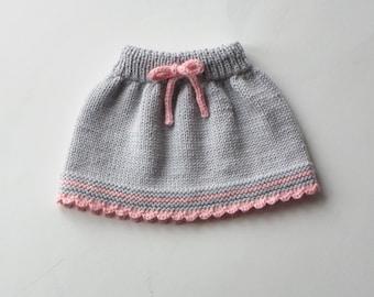 Baby skirt knitted baby skirt merino wool skirt grey and pink skirt MADE TO ORDER