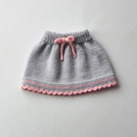 Knitting Skirt For Baby : Baby skirt knitted merino wool grey and pink