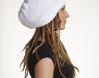 Slouchy beanie hat in white M (MD-1004)