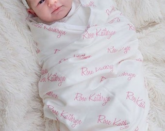 Personalized Swaddle Blanket.  100% organic cotton Baby Blanket.  Personalized Name Blanket.  Newborn Blanket.