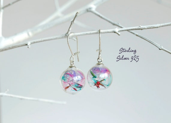 Rainbow Sterling mini Dandelion earrings: make a wish, sterling silver 925,  wish, real flowers, magical, bridesmaid, seeds