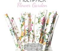 FLOWER GARDEN Paper Straws, Party Decor, Cake Pops, Floral, Vintage, Shabby, Tea Party, Shower, Birthday Baby Shower, Bridal, Wedding, Baby