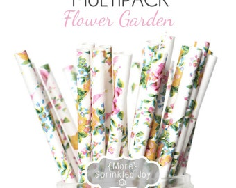 FLOWER GARDEN Paper Straws, Party Decor, Cake Pops, Floral, Vintage, Shabby, Tea Party, Shower, Birthday Baby Shower, Bridal, Wedding, Baby