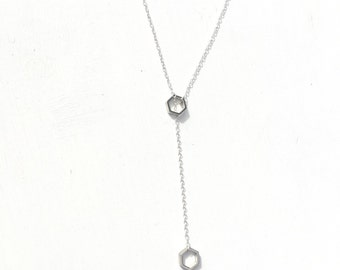 silver hexagon lariat necklace
