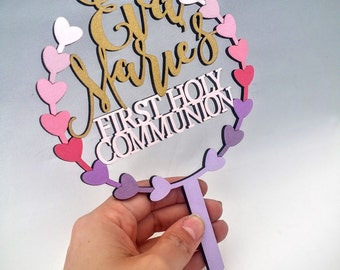 First communion personalized cake topper