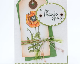 Paper Handmade Thank You Card, Hand Stamped, Hand Tinted Flower, Thank You Paper Note Card