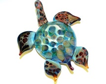 Glass Sea Turtle Sculpture, Honeycomb, Blue, Green - flamework, lampwork, borosilicate, figurine, handmade