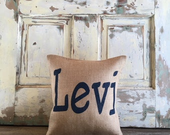 Burlap/Canvas Pillow - Name Pillow | Personalized pillow | Nursery, Kids Pillow | Girl pillow | Boy pillow | Baby Shower gift