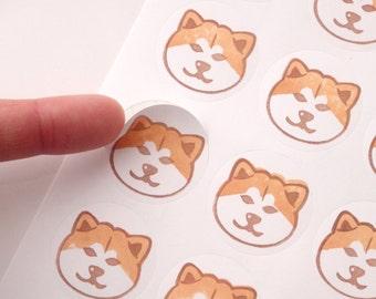 48 Akita inu stickers, Japanese Akita inu, Kawaii stickers, Hand stamped stickers, Japanese stationery, Gift wrapping idea, Pet shop gift