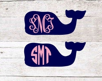 Whale Monogram Decal | Whale Decal | Yeti Decal | Lilly Decal | Preppy Decal | Yeti Sticker