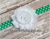 White and Green Shabby Chic Polkadot Headband, St. Patricks Day Headband, Baby Headband, Toddler Headband, Girls Headband, Adult Headband