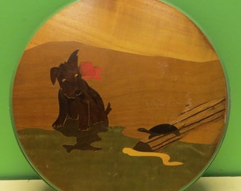 1930's Inlaid Wooden Trivet Scottish Terrier Puppy Dog, Turtle and Snake - Free Shipping