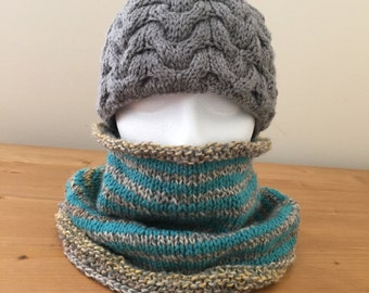 Striped Trapezoid Knitted Cowl - Blue Gray Brown Orange Cream Veriegated - Neck Accessory - Neck Warmer Scarf - Gift