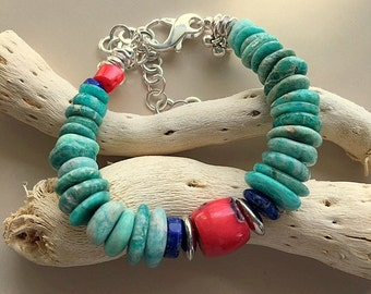 Chunky Natural Turquoise Color Amazonite, Coral, Lapis Lazuli and Sterling Silver Bracelet