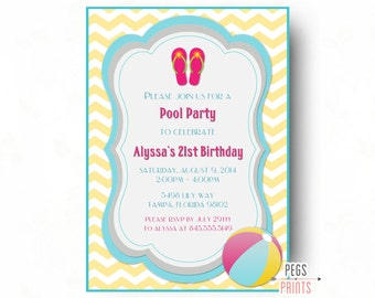 Adult Pool Party Invitation - Pool Party Birthday Invitation (Printable) Beach Party Invitation - Beach Birthday Invitation - Pool Birthday