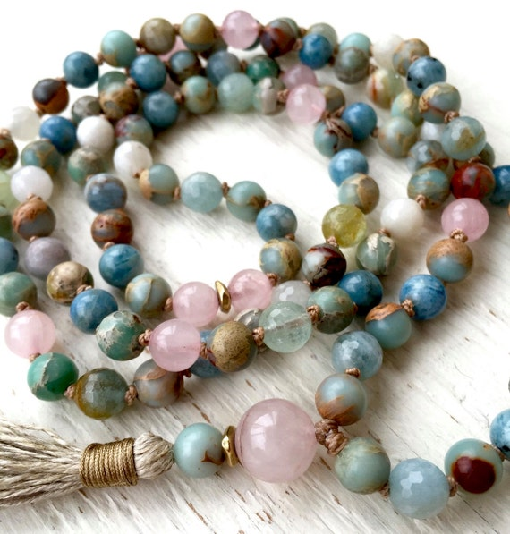 108 Aquamarine Mala Beads, African Opal, Peruvian Blue, Rose Quartz, Moonstone, Goddess Long Tassel Necklace, Yoga Jewelry 108 Beads
