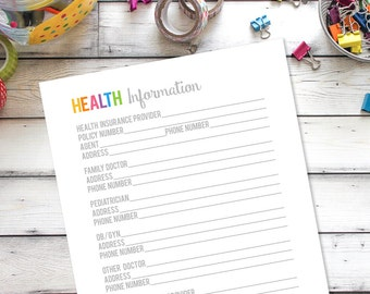 Health practitioner printable, Medical information, Health Organization, Household Binder Printable, Family Binder, Home organization