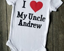 I Love My Uncle Andrew Personalized Baby Boy and Girl Shirt, Clothes,Can Do Any Name, Uncle Gift, Gift from Uncle, Niece, Nephew, Liv & Co.™