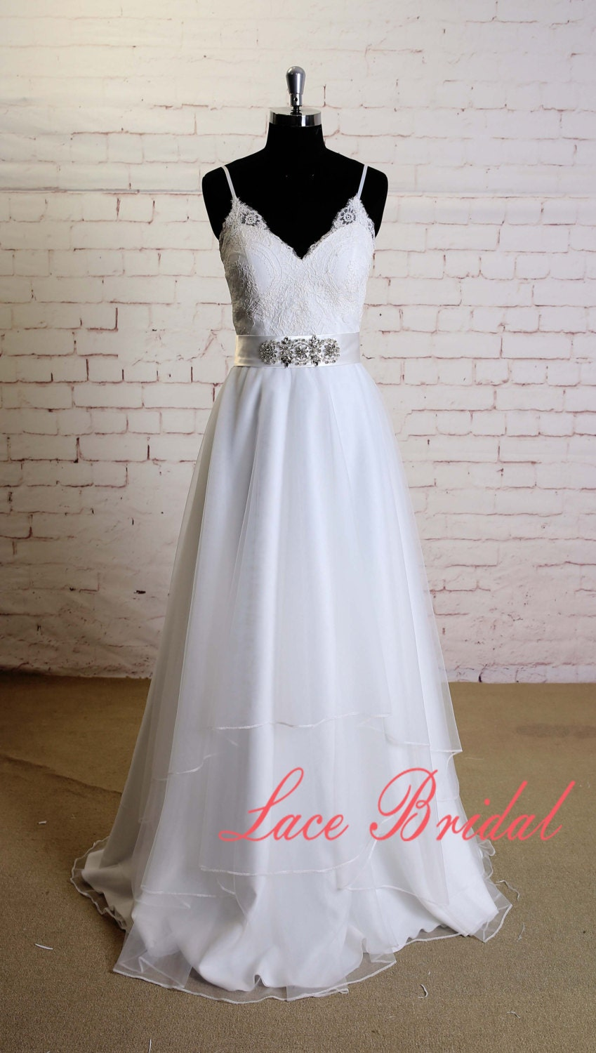 Layered Tulle Wedding Dresses : Soft layered tulle skirt wedding dress with spaghetti straps