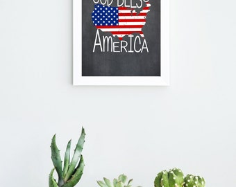 4th of July Summer Printable | INSTANT DOWNLOAD | Independence Day Printable | USA Printable | God Bless America