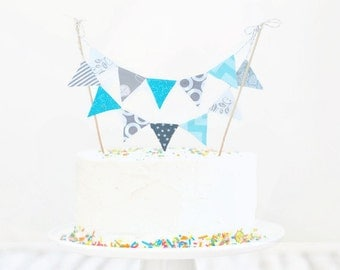 Fabric cake topper bunting, cake bunting flags, bunting cake topper, banner cake topper, birthday cake decor, fabric cake bunting