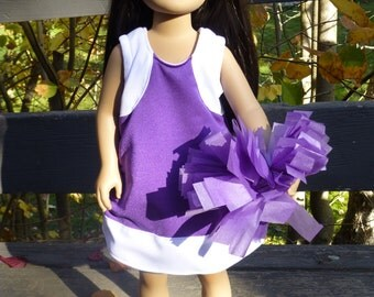 Purple/ white cheerleader uniform/ dress for 20 inch Karito Kids dolls (DOLL NOT INCLUDED)