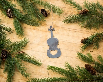 Heart Violin Steel Ornament