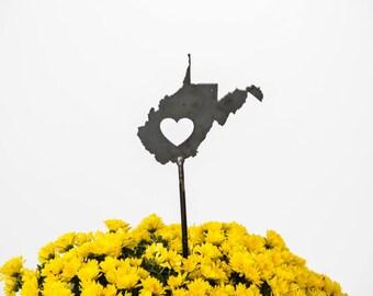 SALE West Virginia State Heart Garden Art Stake