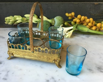 1800s antique French liqueur glasses with brass ormolu caddy