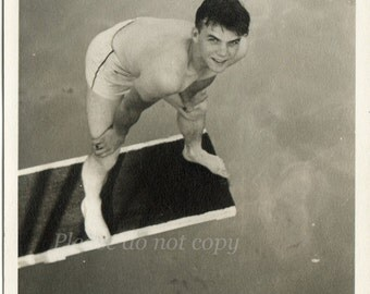 handsome swimmer ~ Vintage Snapshot Photo ~  the swimming pool Diving Board