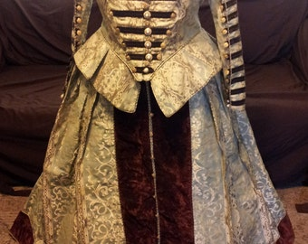 Elizabethan Renaissance Costume with ribbon military accent