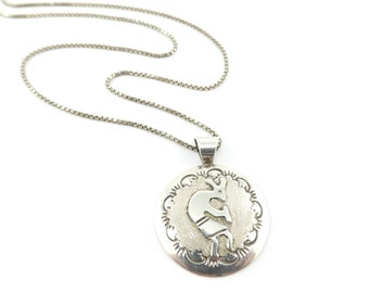 Vintage Kokopelli Necklace, Sterling Silver, Box Chain, Native American, Marked Sterling 925