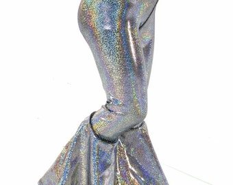 Kids Silver Holographic Bell Bottom Flared Rock Star Pants  Sizes 2T 3T 4T and 5-12   152284