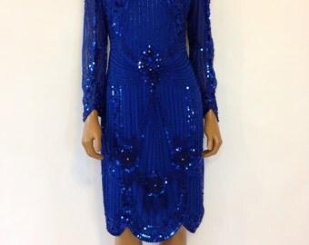 Lillie Rubin 90s Deco Dress Blue Cobalt Sheath Mini Sequined Beaded Size P/S
