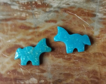 Blue Turquoise Small Horse/Pony Cabochon Pair/ backed/ Sonora Mexico