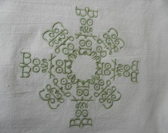 Personalized pillow cover with TWO names in a snowflake
