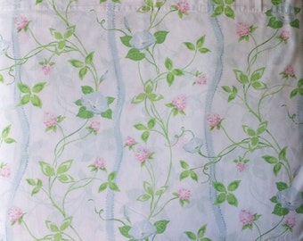 Dan River Dantrel No Iron Muslin White Pink Blue Green Floral Print Double Full Size Flat Bed Sheet