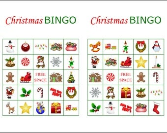 100 Printable Christmas Bingo Cards, 2 per page, Fun Christmas Party Game, immediate pdf download
