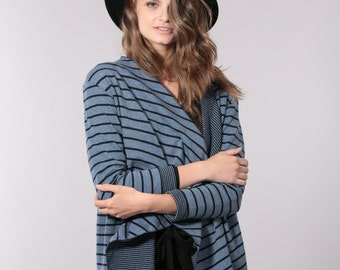 Knitted striped cardigan, double sided stripes cardigan for women, women's blue sweater, mother's day gift, gift for her