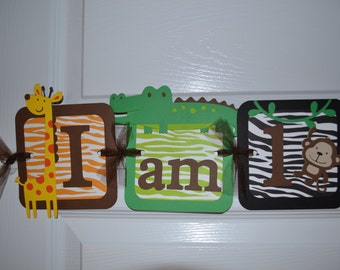 "Jungle ""I am 1"" Highchair Banner - First Birthday - Birthday Party"
